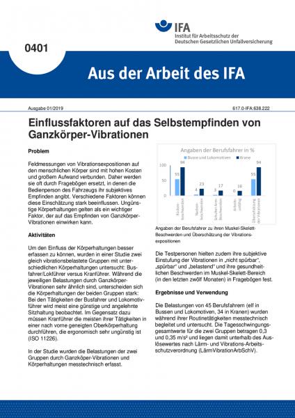 Einflussfaktoren auf das Selbstempfinden von Ganzkörper-Vibrationen (Aus der Arbeit des IFA Nr. 401)