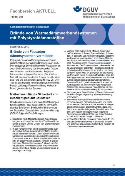"""FBFHB-001 """"Brände von Wärmedämmverbundsystemen mit Polystyroldämmstoffen"""""""