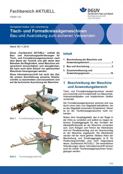 """FBHM-104 """"Tisch- und Formatkreissägemaschinen - Bau und Ausrüstung zum sicheren Verwenden"""""""
