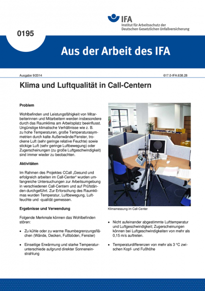 Klima und Luftqualität in Call-Centern. Aus der Arbeit des IFA Nr. 0195
