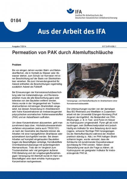 Permeation von PAK durch Atemluftschläuche. Aus der Arbeit des IFA Nr. 0184