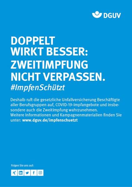 """Plakat #ImpfenSchützt, Motiv """"Doppelt wirkt besser"""" (DGUV) Hochformat"""