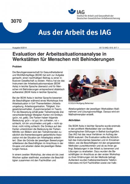 Evaluation der Arbeitssituationsanalyse in Werkstätten für Menschen mit Behinderungen (Aus der Arbei