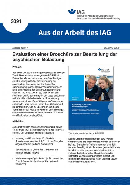 """Evaluation einer Broschüre zur Beurteilung der psychischen Belastung (""""Aus der Arbeit des IAG"""" Nr. 3"""