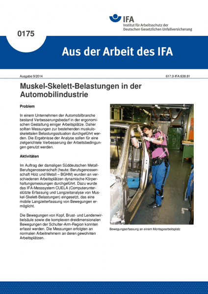Muskel-Skelett-Belastungen in der Automobilindustrie. Aus der Arbeit des IFA Nr. 0175