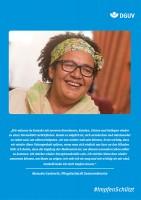 Plakat #ImpfenSchützt, Motiv: Manuela Garbrecht (DGUV und BG Kliniken) Hochformat
