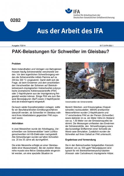 PAK-Belastungen für Schweißer im Gleisbau? Aus der Arbeit des IFA Nr. 0282