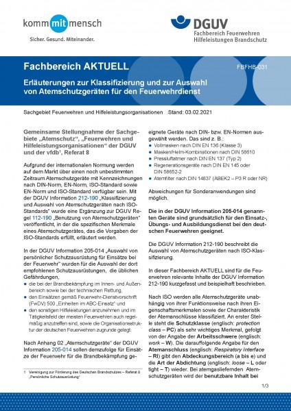 """FBFHB-031 """"Erläuterungen zur Klassifizierung und zur Auswahl von Atemschutzgeräten für den Feuerwehr"""