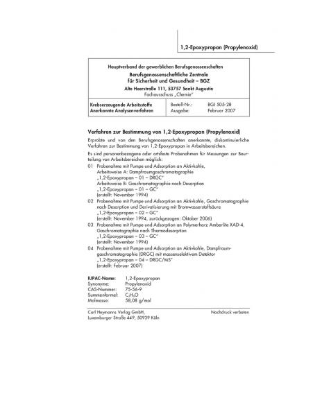 Verfahren zur Bestimmung von 1,2-Epoxypropan (Propylenoxid)