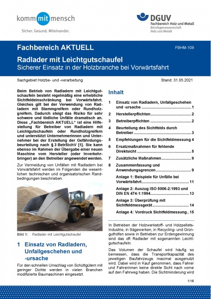 """FBHM-109 """"Radlader mit Leichtgutschaufel - Sicherer Einsatz in der Holzbranche bei Vorwärtsfahrt"""""""