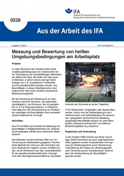 Messung und Bewertung von heißen Umgebungsbedingungen am Arbeitsplatz. Aus der Arbeit des IFA Nr. 02