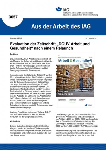"""Evaluation der Zeitschrift """"DGUV Arbeit und Gesundheit"""" nach einem Relaunch. Aus der Arbeit des IAG"""