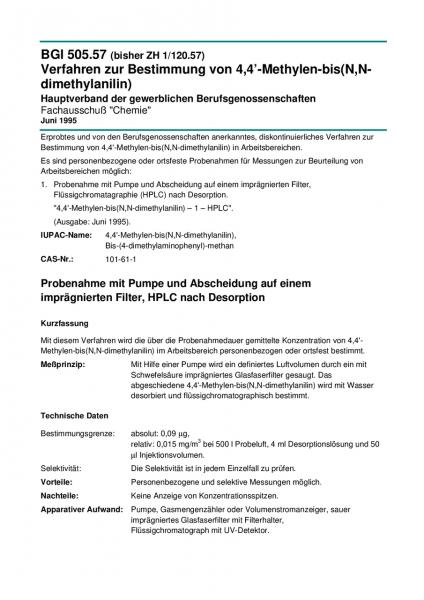 Verfahren zur Bestimmung von 4,4'-Methylen-bis(N,N-dimethylanilin)