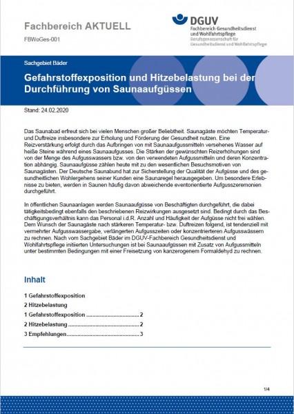 """FBWoGes-001 """"Gefahrstoffexposition und Hitzebelastung bei der Durchführung von Saunaaufgüssen"""""""