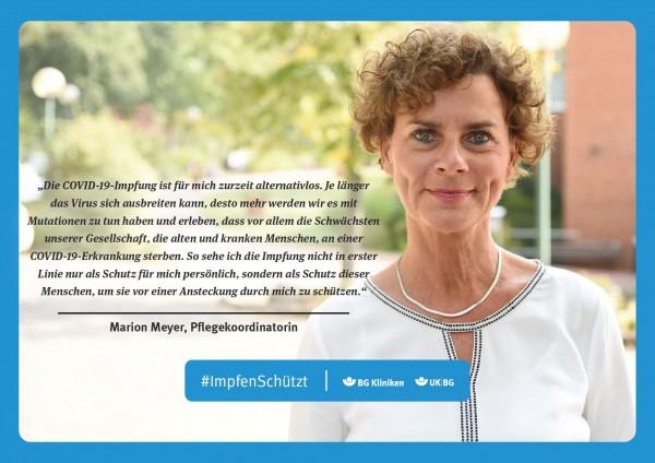 Plakat #ImpfenSchützt, Motiv: Marion Meyer (UK|BG und BG Kliniken) Querformat