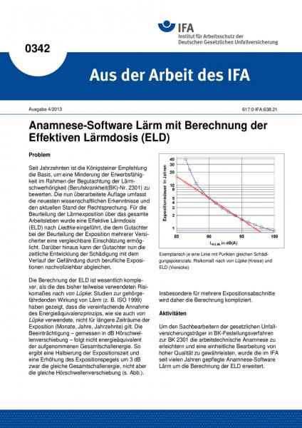 Anamnese-Software Lärm mit Berechnung der Effektiven Lärmdosis (Aus der Arbeit des IFA Nr. 0342)