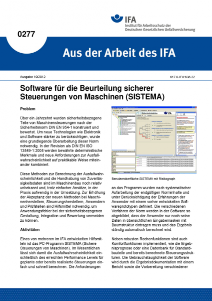 Software für die Beurteilung sicherer Steuerungen von Maschinen (SISTEMA). Aus der Arbeit des IFA Nr