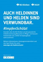 """Plakat #ImpfenSchützt """"Auch Heldinnen und Helden sind verwundbar."""" (DGUV und BG Kliniken)"""