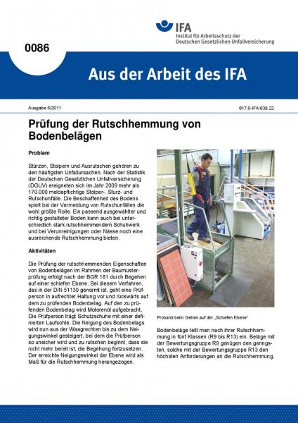 Prüfung der Rutschhemmung von Bodenbelägen. Aus der Arbeit des IFA Nr. 0086