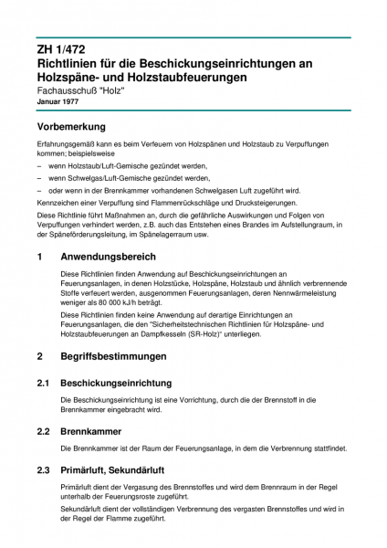 Richtlinien für die Beschickungseinrichtungen an Holzspäne- und Holzstaubfeuerungen