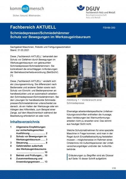 """FBHM-089 """"Schmiedepressen/Schmiedehämmer Schutz vor Bewegungen im Werkzeugeinbauraum"""""""