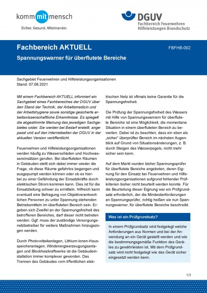 """FBFHB-002 """"Spannungsprüfer für überflutete Bereiche"""""""