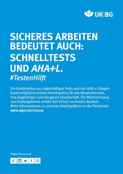 "Plakat #TestenHilft, ""Sicheres Arbeiten"" (UK|BG) Hochformat"
