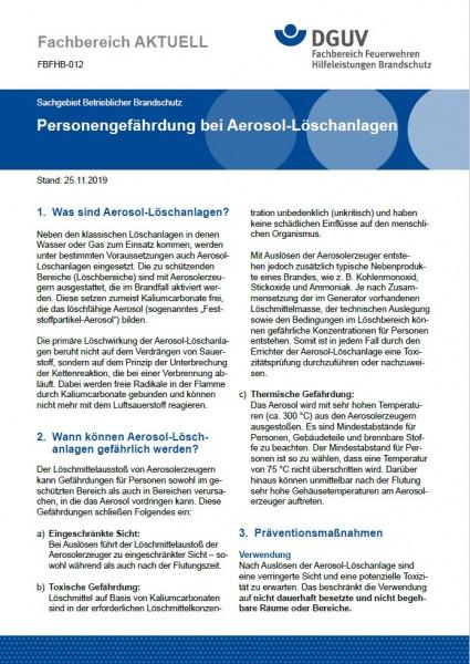 """FBFHB-012 """"Personengefährdung bei Aerosol-Löschanlagen"""""""