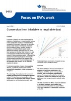 Conversion from inhalable to respirable dust (Focus on IFA works No. 0415)