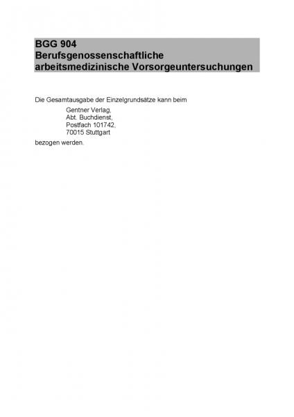 DGUV Grundsätze für arbeitsmedizinische Untersuchungen