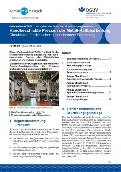 """FBHM-110 """"Handbeschickte Pressen der Metall-Kaltbearbeitung - Checkliste für die sicherheitstechnisc"""