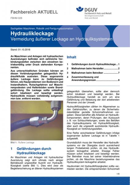 "FBHM-028 ""Hydraulikleckage - Vermeidung äußerer Leckage an Hydrauliksystemen"""
