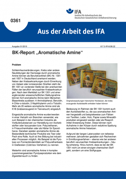 """BK-Report """"Aromatische Amine"""" (Aus der Arbeit des IFA Nr. 0361)"""