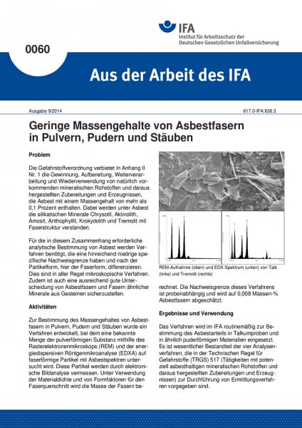 Geringe Massengehalte von Asbestfasern in Pulvern, Pudern und Stäuben. Aus der Arbeit des IFA Nr. 00