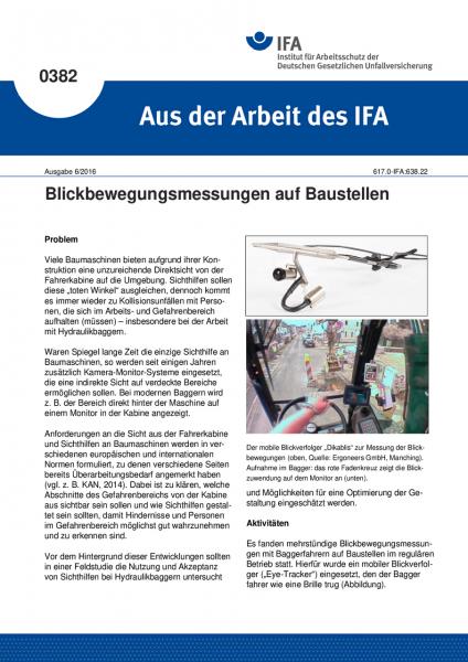 Blickbewegungsmessungen auf Baustellen (Aus der Arbeit des IFA Nr. 0382)