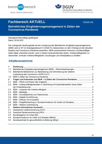 """FBGIB-006 """"Betriebliches Eingliederungsmanagement in Zeiten der Coronavirus-Pandemie"""""""