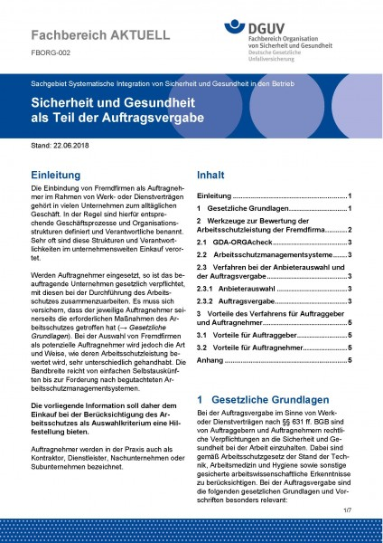 """FBORG-002 """"Sicherheit und Gesundheit als Teil der Auftragsvergabe"""""""