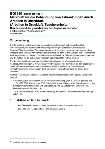 Merkblatt für die Behandlung von Erkrankungen durch Arbeiten in Überdruck (Arbeiten in Druckluft, Ta
