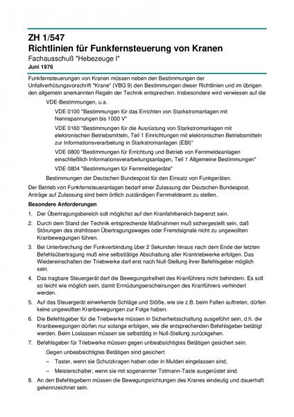 Richtlinien für Funkfernsteuerung von Kranen
