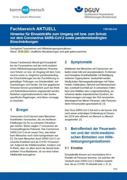 """FBFHB-016 """"Hinweise für Einsatzkräfte zum Umgang mit bzw. zum Schutz vor dem Coronavirus SARS-CoV-2"""