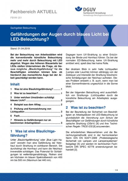 """FBVW-201 """"Gefährdung der Augen durch blaues Licht bei LED-Beleuchtung?"""""""