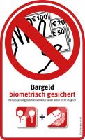 Aufkleber (groß) – Bargeld biometrisch gesichert