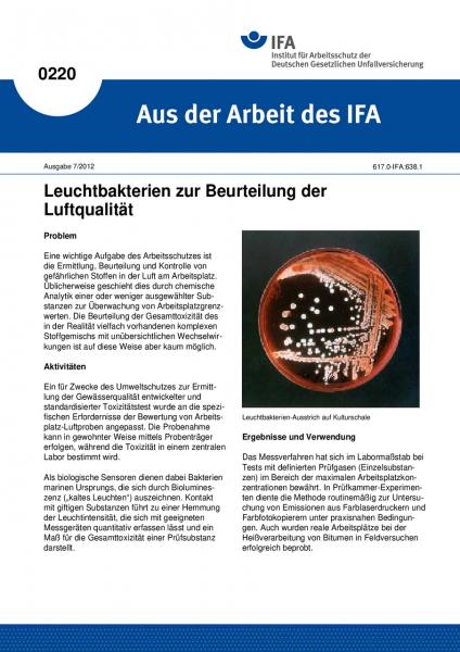 Leuchtbakterien zur Beurteilung der Luftqualität. Aus der Arbeit des IFA Nr. 0220