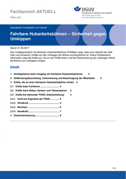 """FBHL-003 """"Fahrbare Hubarbeitsbühnen - Sicherheit gegen Umkippen"""""""