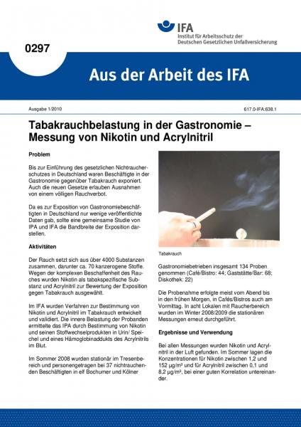 Tabakrauchbelastung in der Gastronomie - Messung von Nikotin und Acrylnitril. Aus der Arbeit des IFA