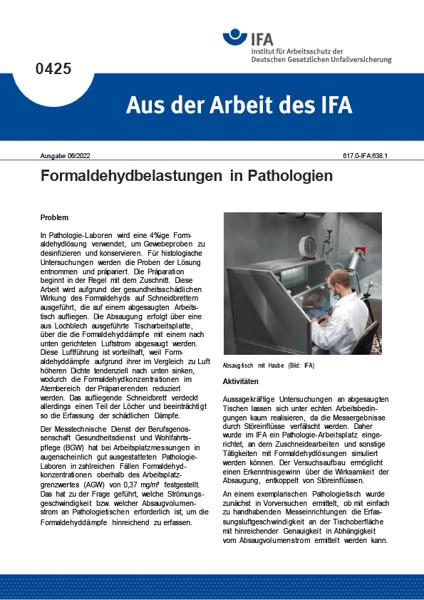 Formaldehydbelastungen in Pathologien