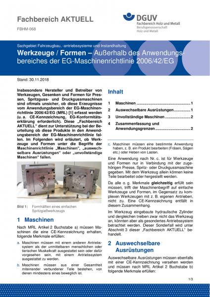 """FBHM-068 """"Werkzeuge / Formen - Außerhalb des Anwendungsbereiches der EG-Maschinenrichtlinie 2006/42/"""