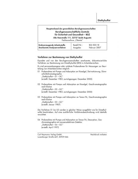 Verfahren zur Bestimmung von Diethylsulfat