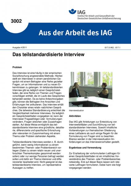 Das teilstandardisierte Interview. Aus der Arbeit des IAG Nr. 3002