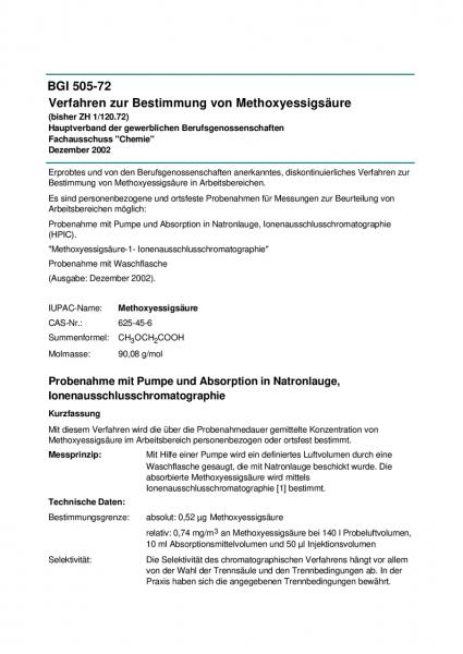 Verfahren zur Bestimmung von Methoxyessigsäure